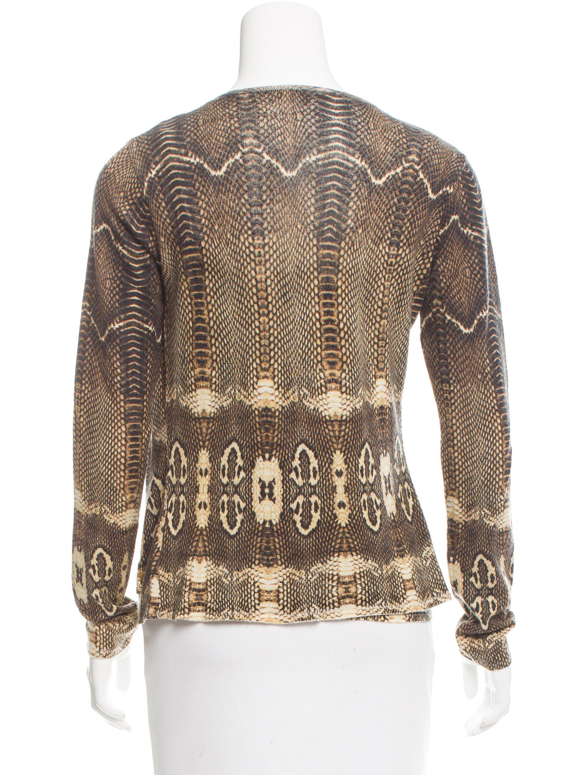 Lyst Roberto Cavalli Wool Cashmere Blend Snakeskin Print