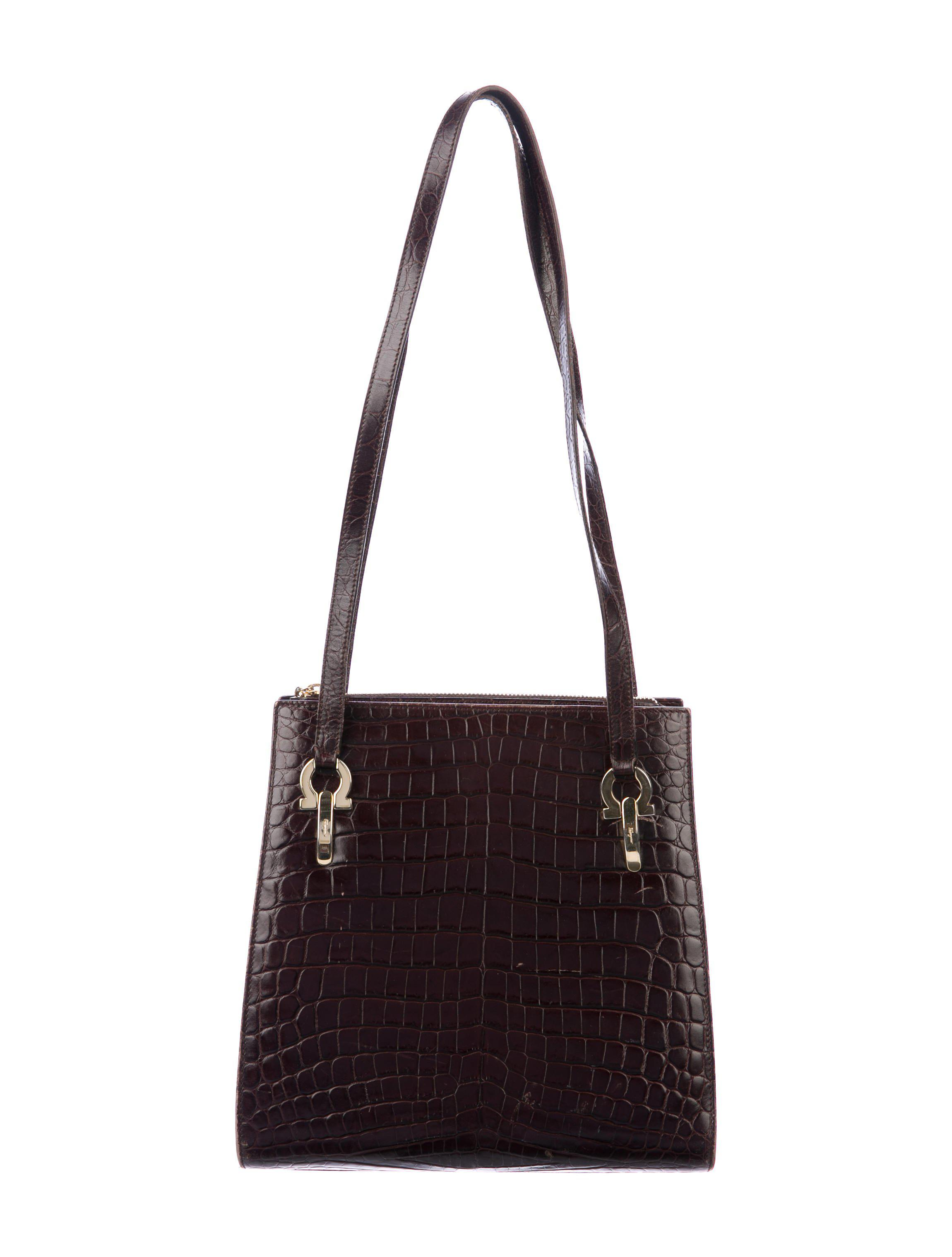 Lyst - Ferragamo Embossed Leather Shoulder Bag Gold in Metallic 6f324b314ca82