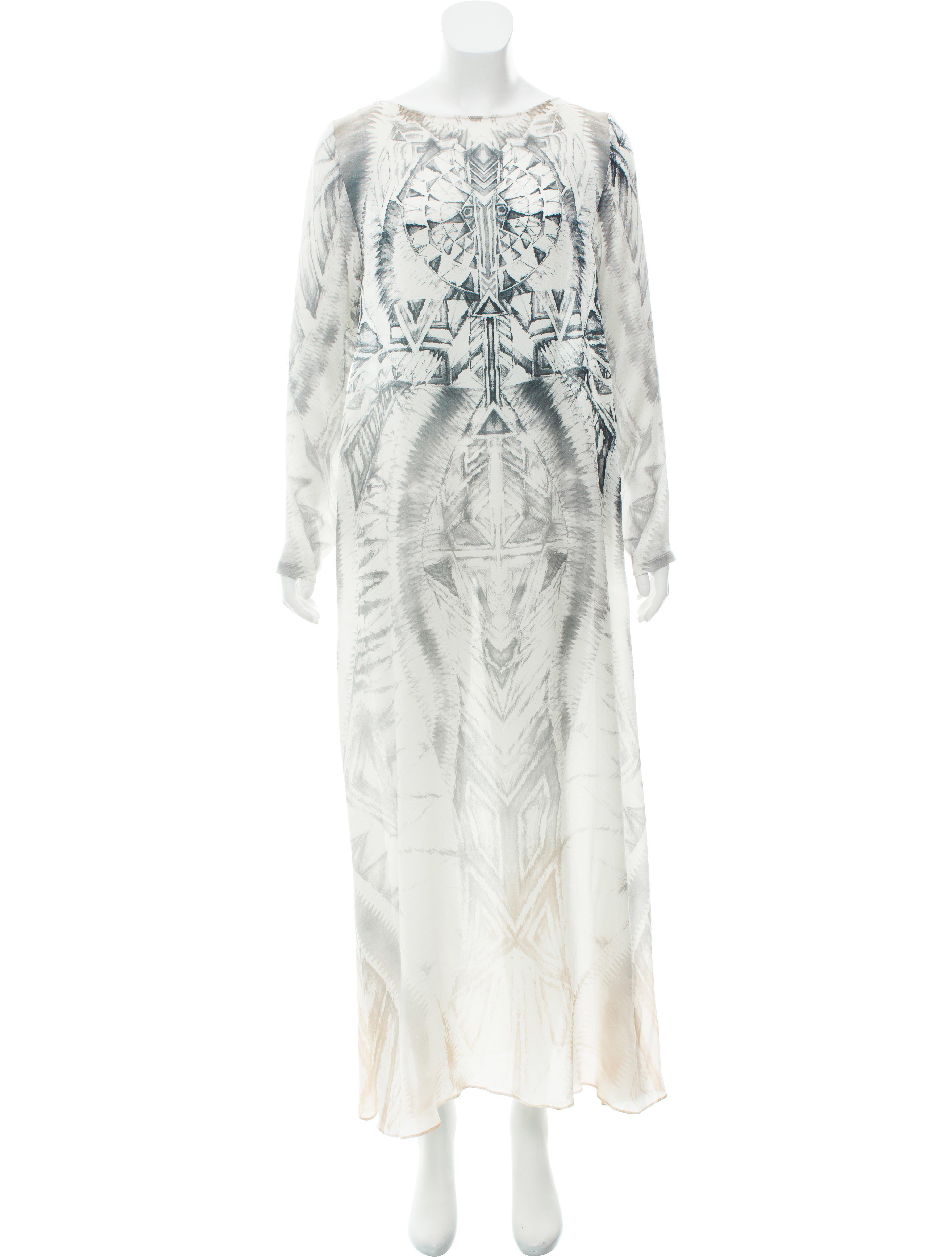 69563ce1 Lyst - Balmain Printed Silk Dress Grey in Gray