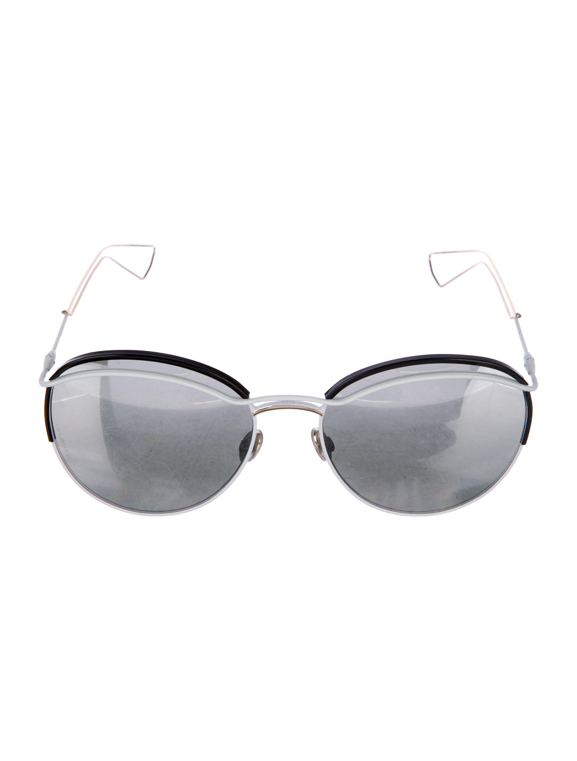 a96362b3bd8 Lyst - Dior Dioround Mirrored Sunglasses White in Metallic