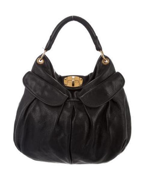c68077aa46 Lyst - Miu Miu Miu Leather Hobo Black in Metallic
