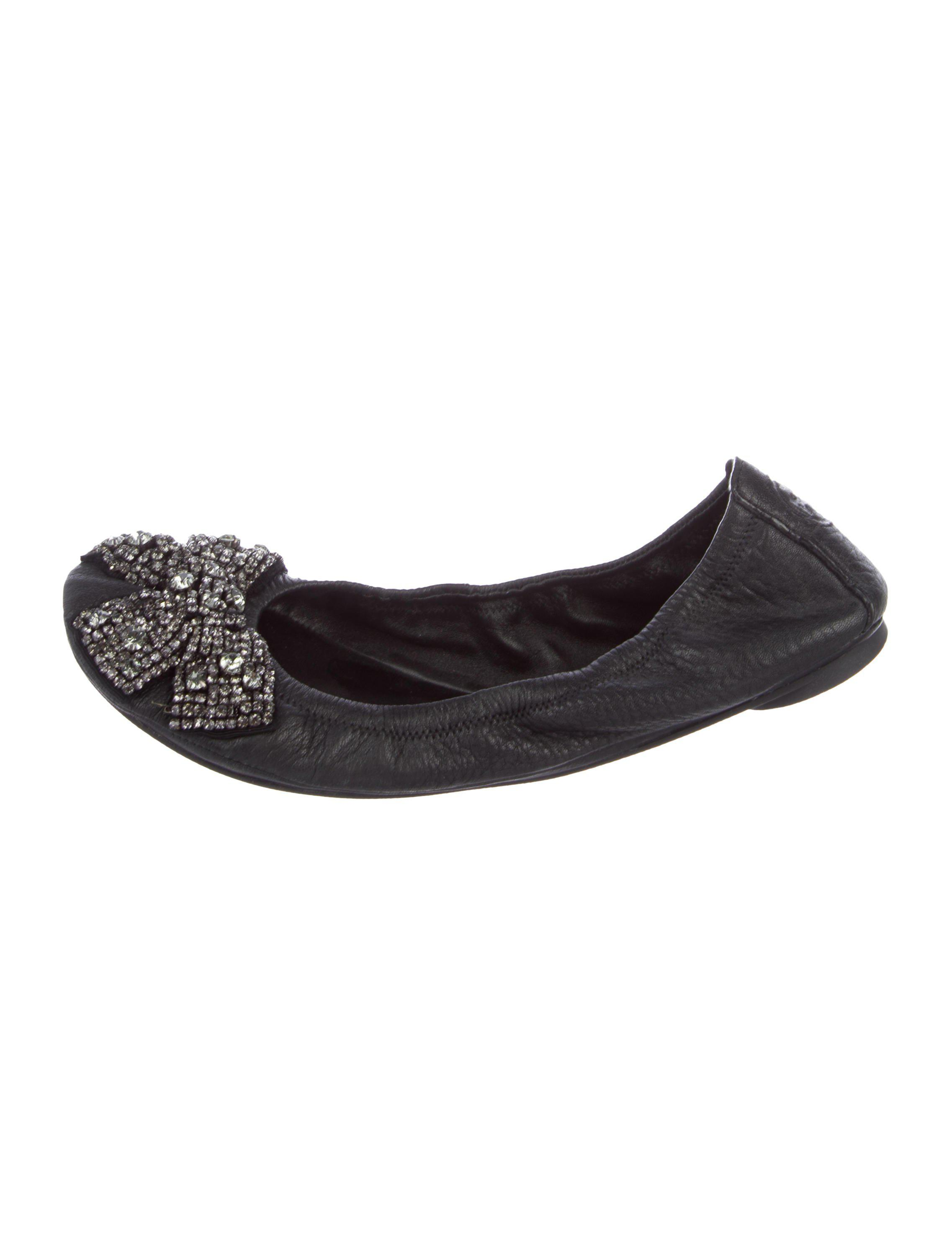 02116d1be501 Lyst - Tory Burch Embellished Leather Flats in Black