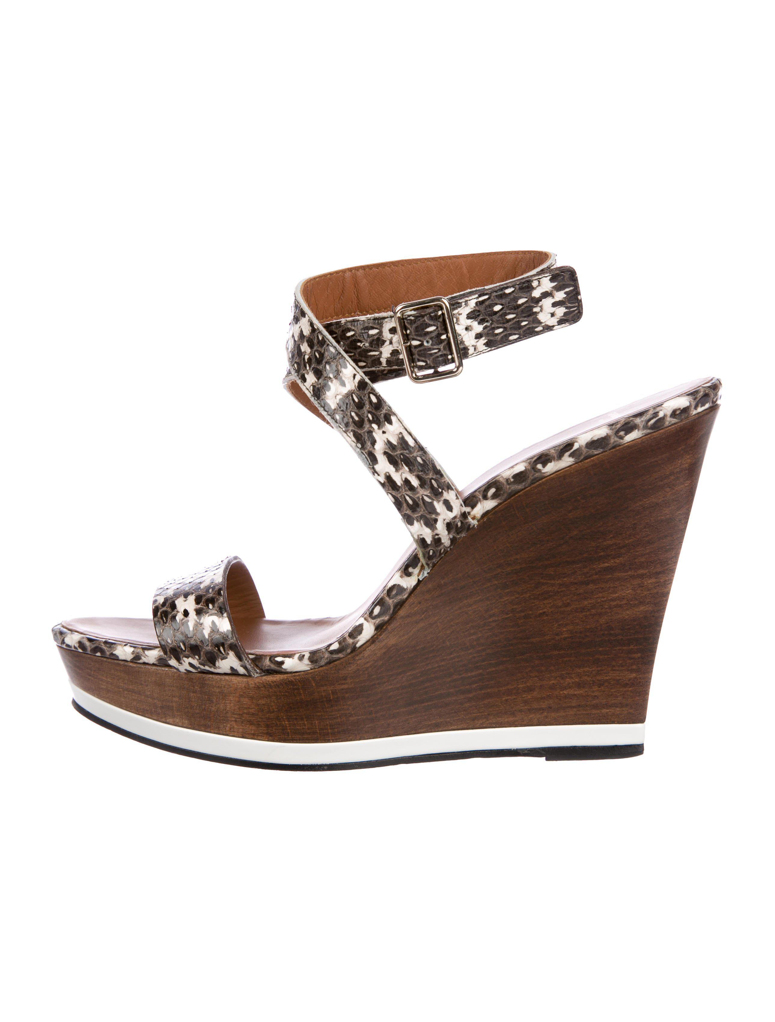 a1676b548e5e Lyst - Givenchy Snakeskin Wedge Sandals Brown in Metallic