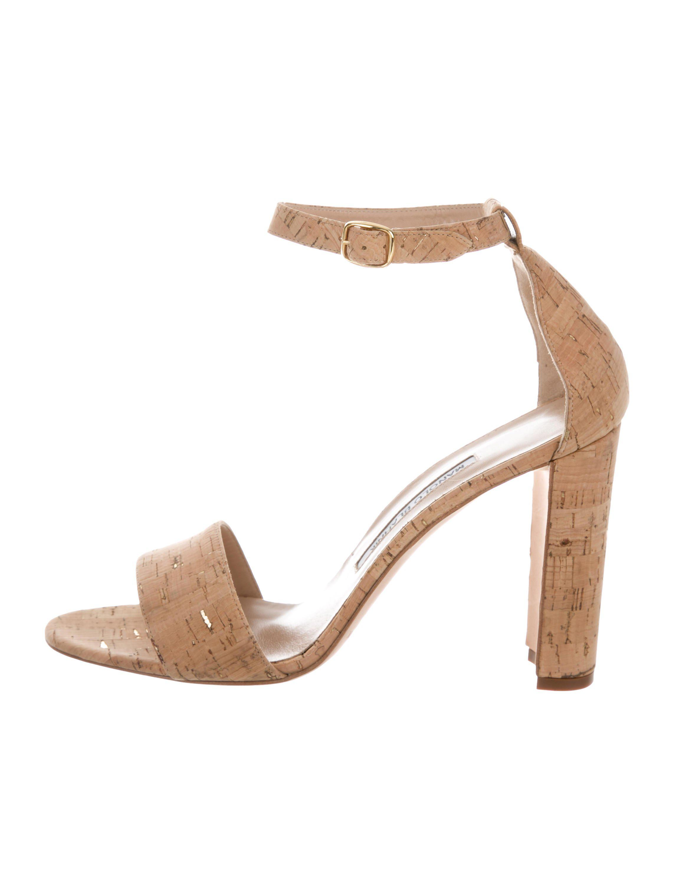 d6143818c43e Lyst - Manolo Blahnik Cork Ankle Strap Sandals Tan in Natural
