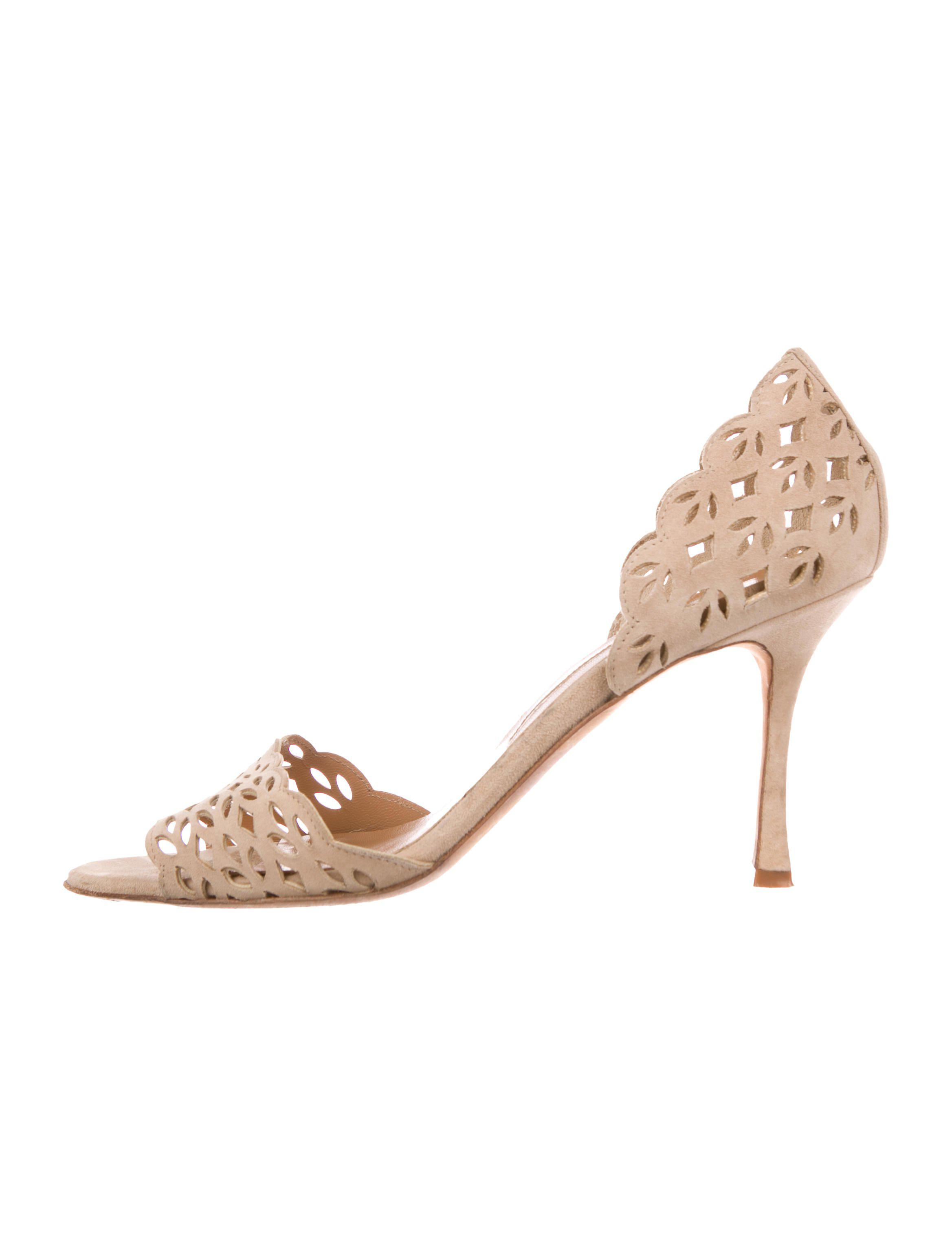 Manolo Blahnik Laser Cut Suede Sandals free shipping marketable largest supplier cheap price cheap sale outlet free shipping countdown package HsGSwOnc8