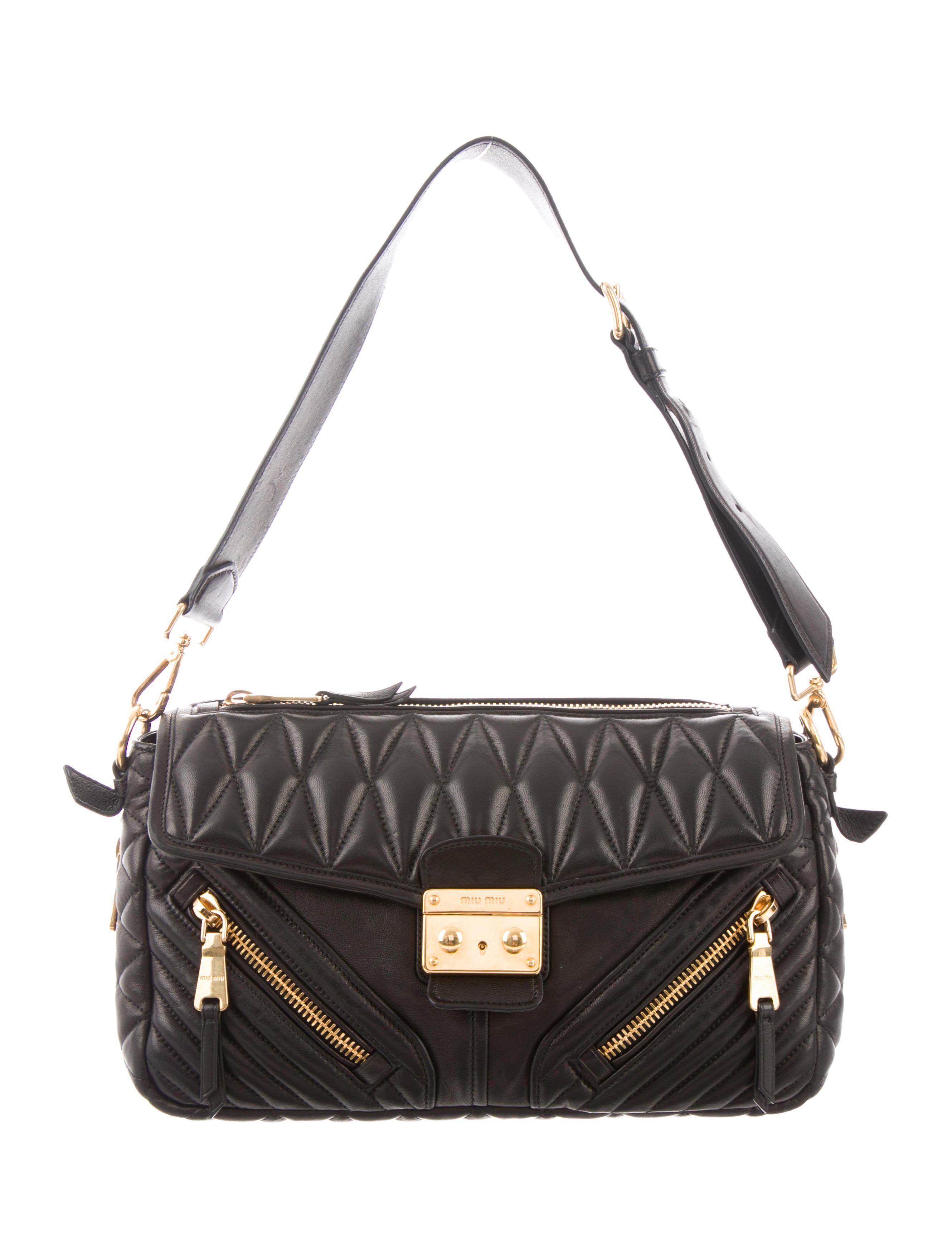 35c09b2c401d Lyst - Miu Miu Miu Nappa Biker Shoulder Bag Black in Metallic