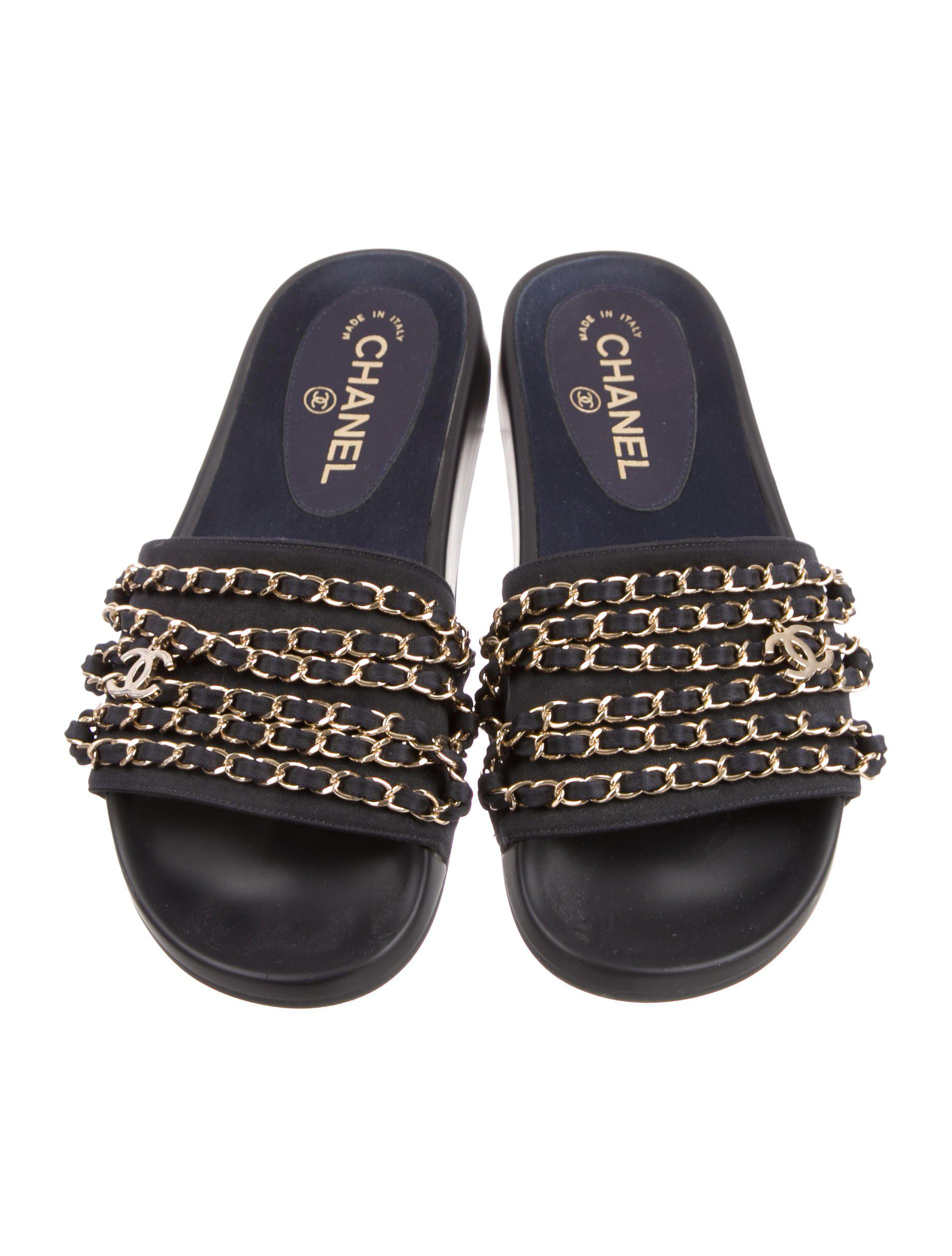 f1b3b5ee061a Lyst - Chanel Tropiconic Slide Sandals Navy in Metallic