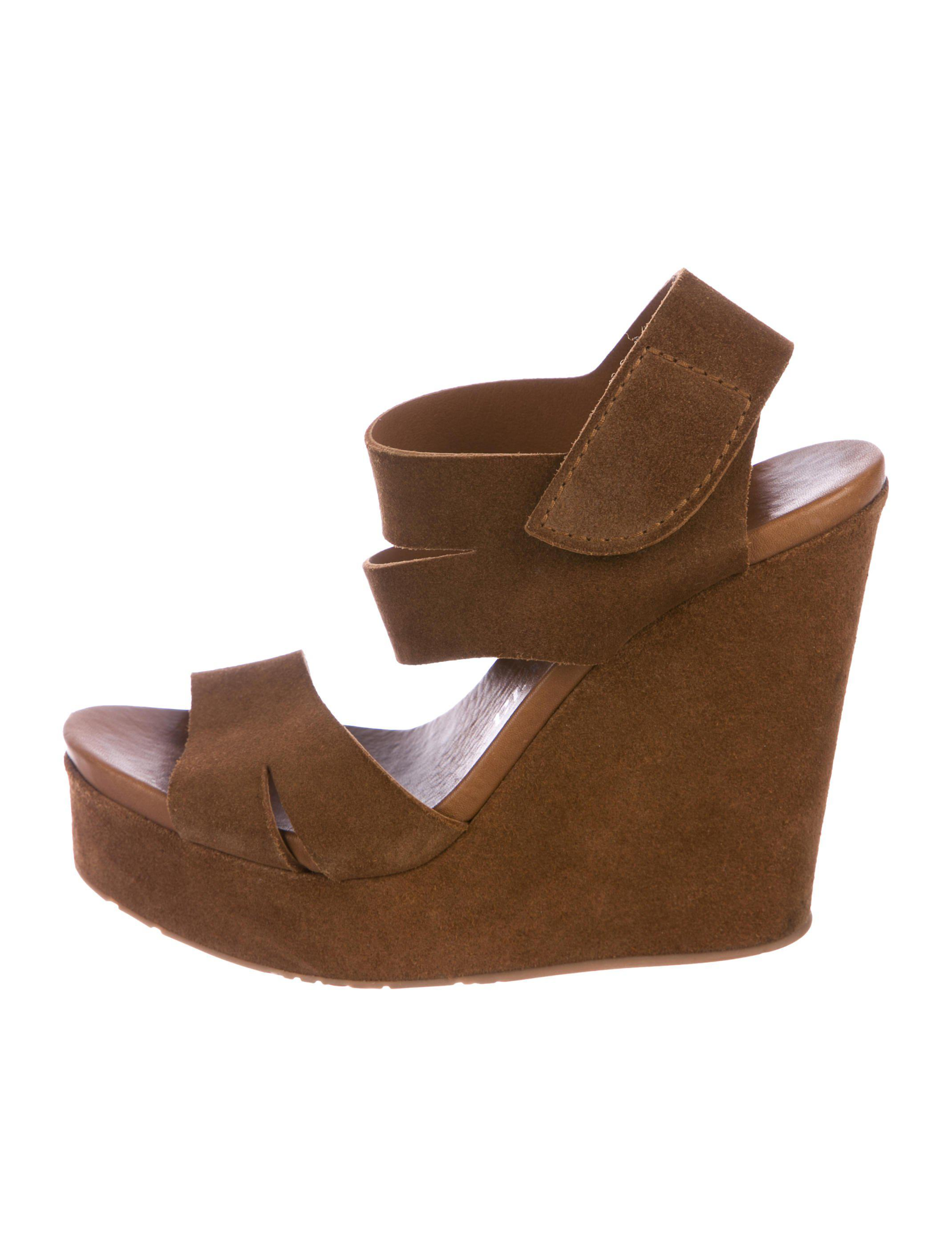79ebb322c838 Lyst - Pedro Garcia Suede Platform Wedges in Brown