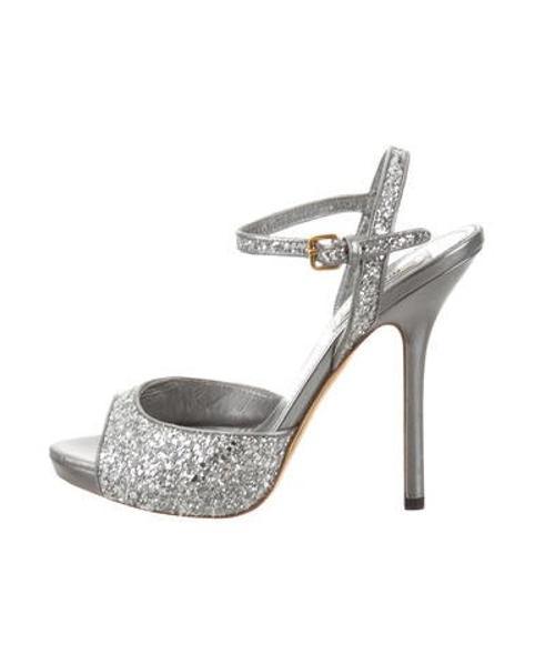 b2eef15c87 Lyst - Miu Miu Miu Glitter Ankle Strap Sandals Silver in Metallic