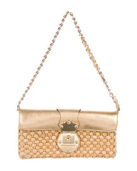 b068121ff387 MICHAEL Michael Kors. Women s Metallic Michael Kors Leather-trimmed Woven Raffia  Bag Beige