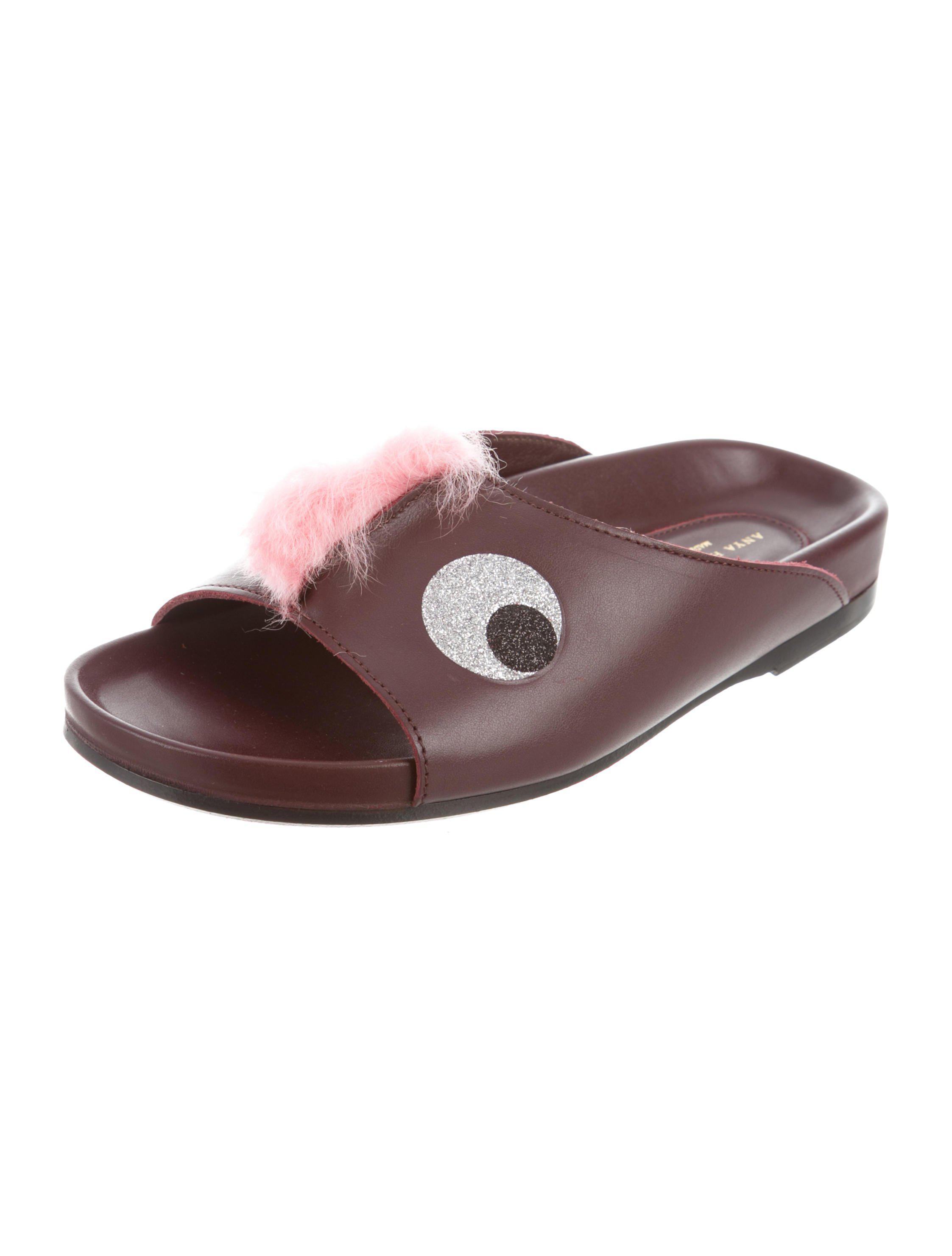 Anya Hindmarch Faux Fur-Trimmed Slide Sandals w/ Tags outlet where can you find pV2BYd