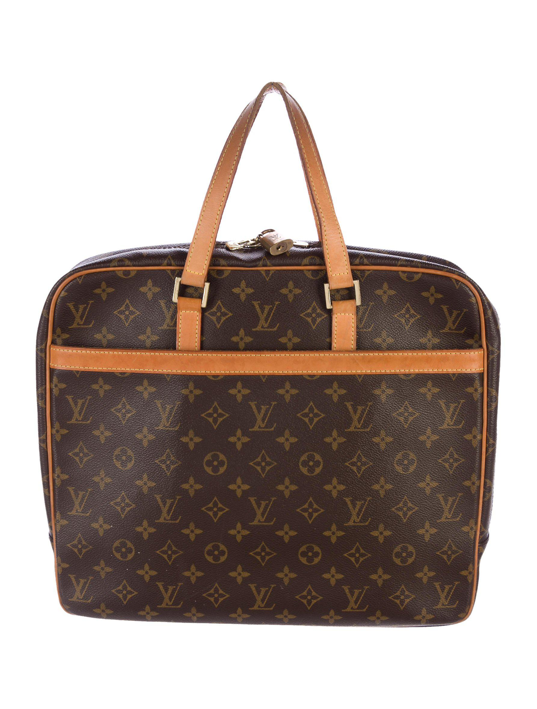 Louis Vuitton Monogram Portedocuments Briefcase Brown In Natural - Porte document fossil