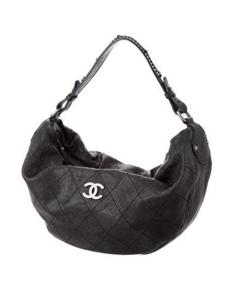 becb7f5f0c1106 Lyst - Chanel Outdoor Ligne Large Hobo Black in Metallic