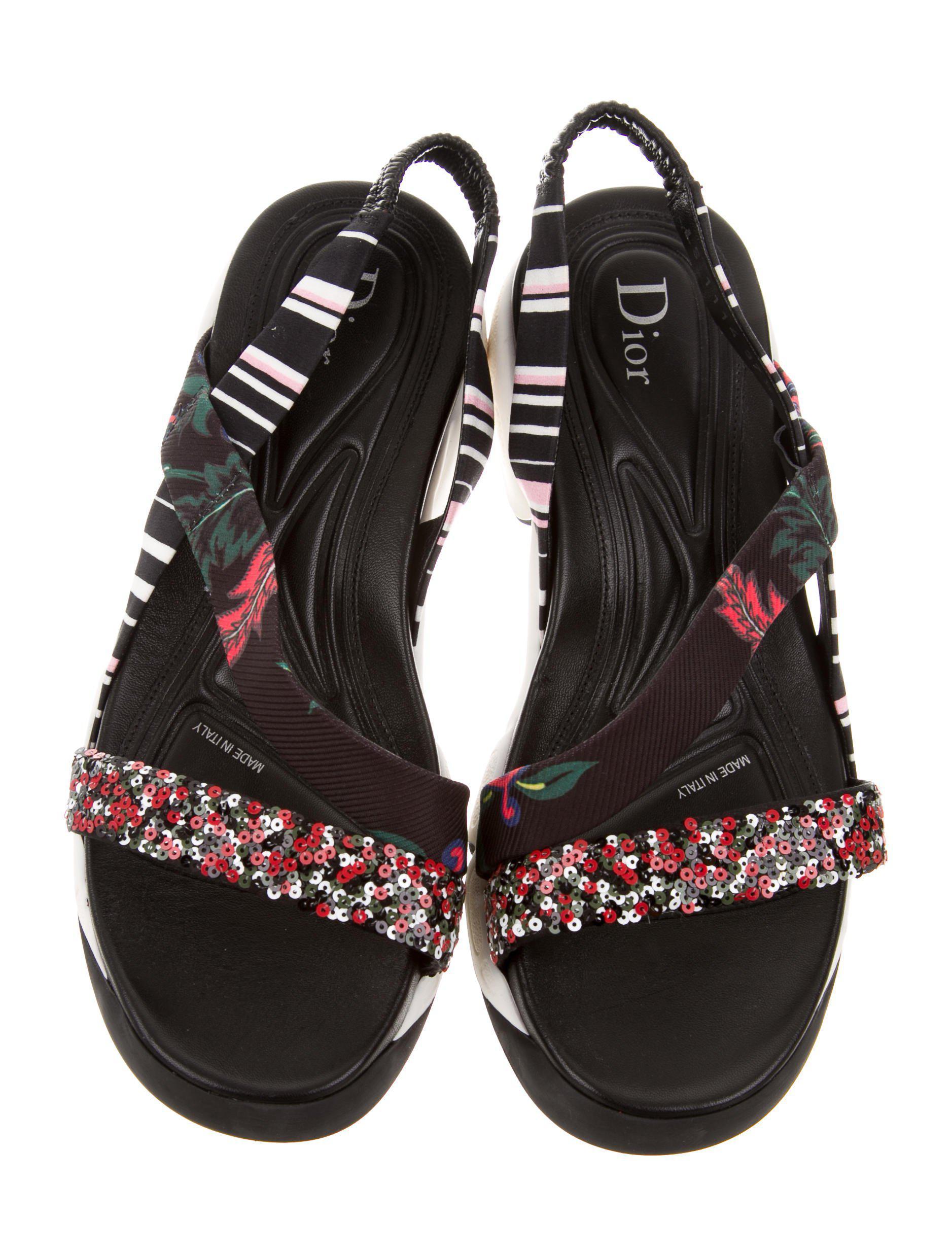 Lyst Dior Sequin Slingback Sandals In Black