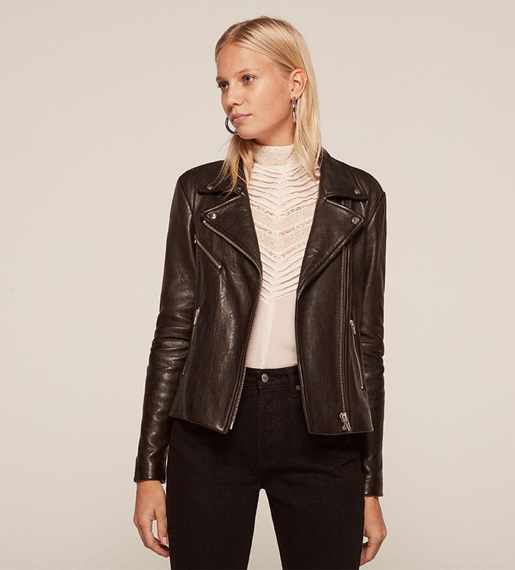 432826ab71 Reformation Bad Leather Jacket in Black - Lyst