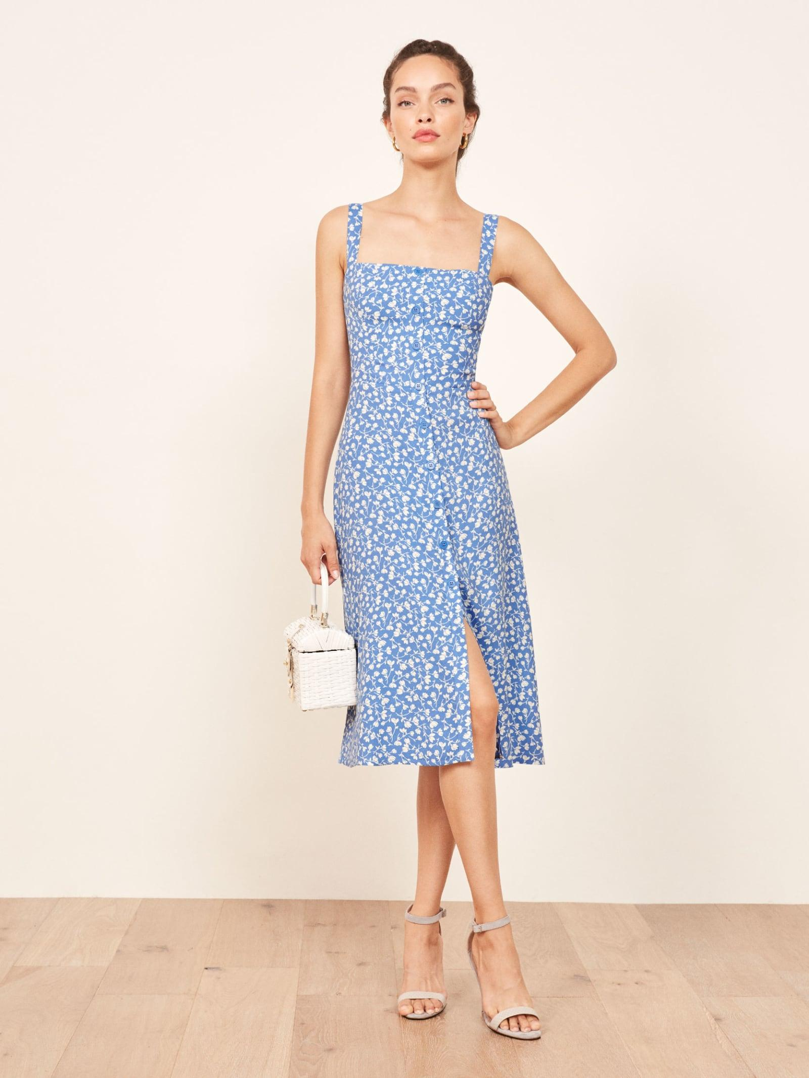 00360d6235c Lyst - Reformation Persimmon Dress in Blue