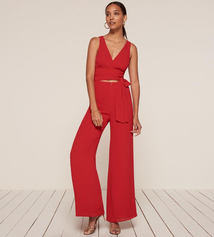 b5a94a2a4f8 Lyst - Reformation Patti Jumpsuit in Red