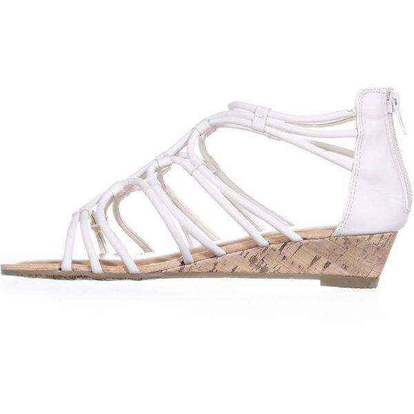 3c157632753 Lyst - Esprit Cecile Zip Up Wedge Strappy Sandals in White - Save ...