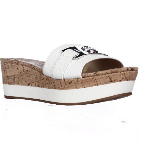b468c4774e5 Lyst - Michael Kors Michael Warren Platform Slide Sandals in White