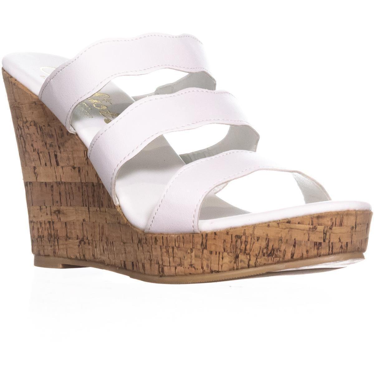 6e9775bd35b2 Lyst - Callisto Flure Triple Strap Wedge Sandals in White - Save 60%