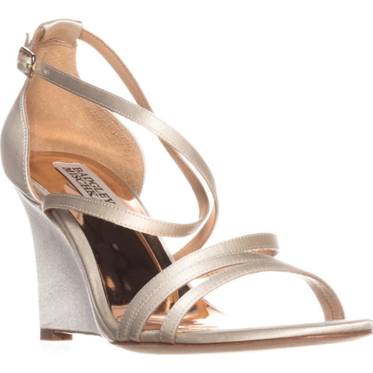 b2e7cd6f03 Lyst - Badgley Mischka Bonanza Wedge Evening Sandals in White - Save 14%