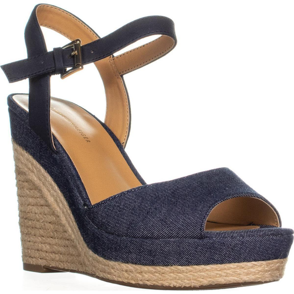 253e19cc Lyst - Tommy Hilfiger Kali Peep Toe Wedge Sandals in Blue