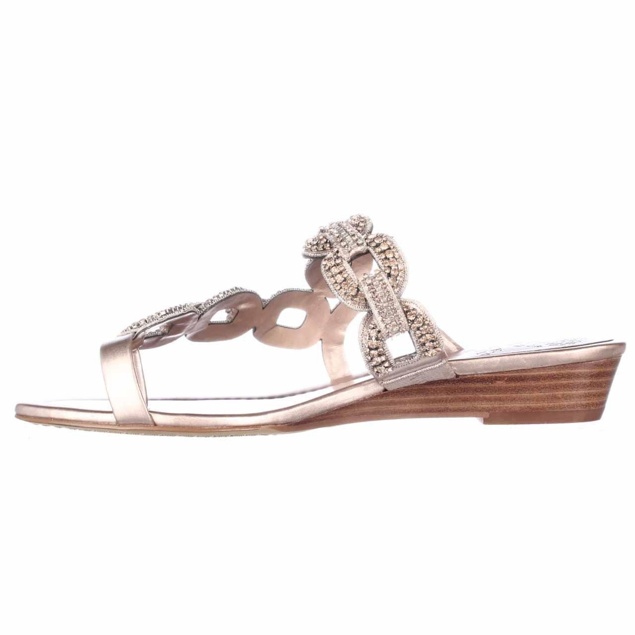 Vince Camuto Inkaa Jeweled Chain Strap Low Wedge Sandals