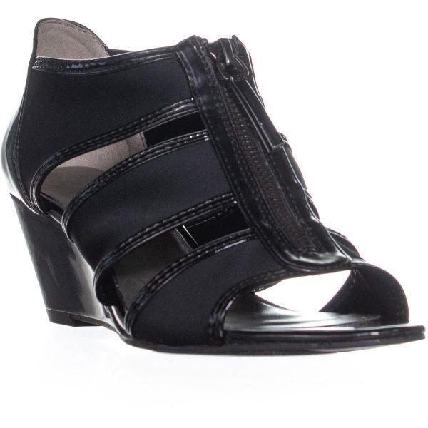 eb4cbfa8bce Lyst - Bandolino Dopie Wedge Strappy Sandals in Black - Save ...