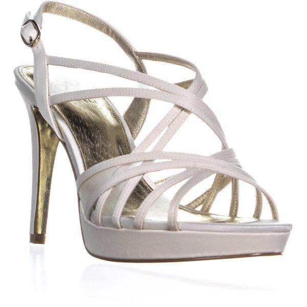 bcfcc7f457e Adrianna Papell Adri Criss Cross Peep Toe Sandals in White - Save ...