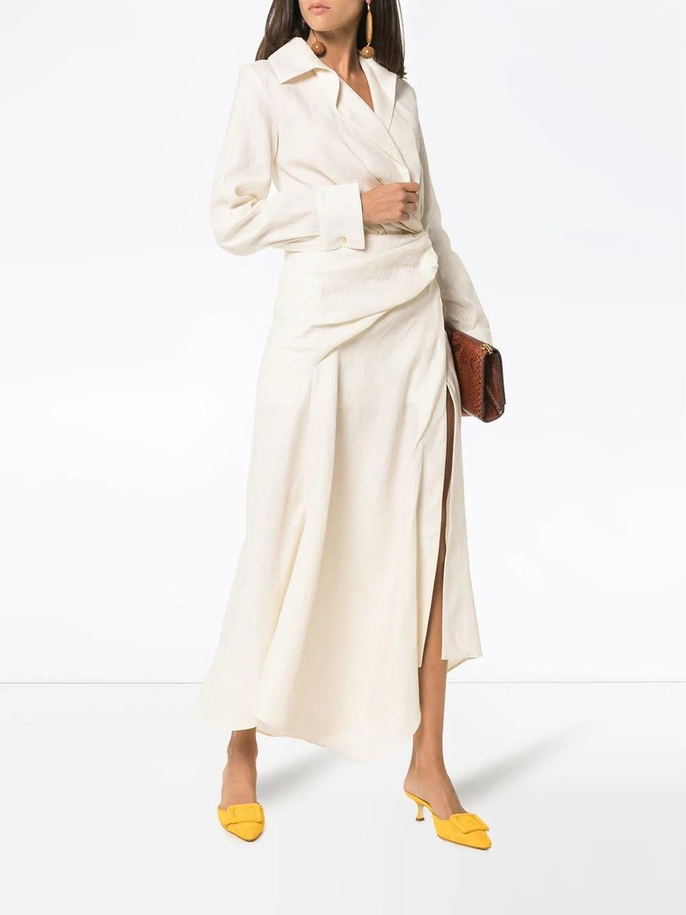 87866aba84 Jacquemus Wrap Shirt Dress in Natural - Lyst