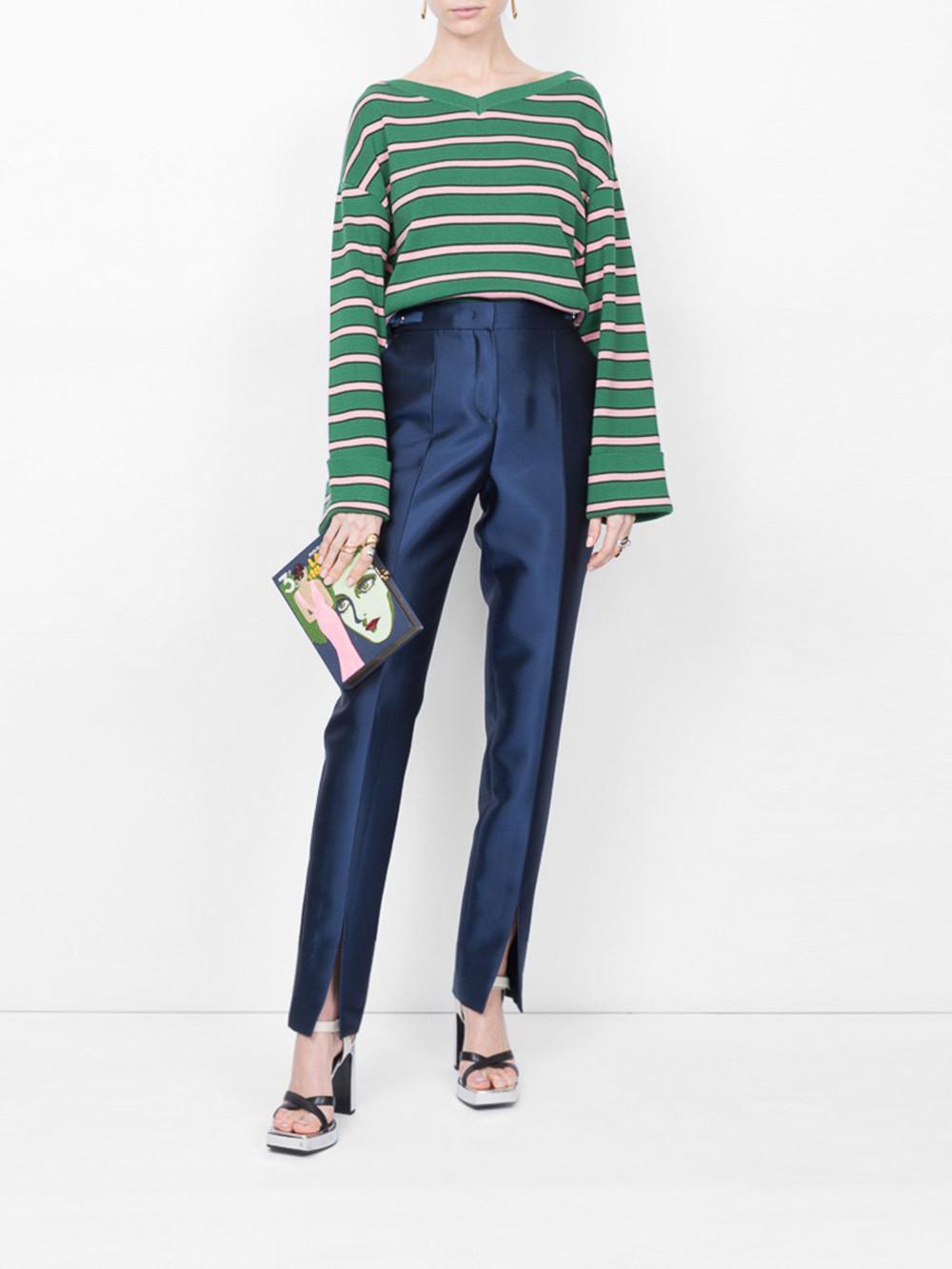 711edd59af40 Lyst - ALEXACHUNG Oversized Striped Sweater in Green
