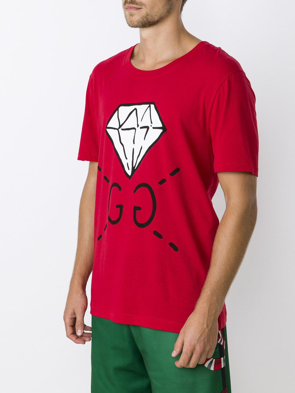 b4e1c0ffd Gucci Ghost GG Diamond T-shirt in Red for Men - Lyst