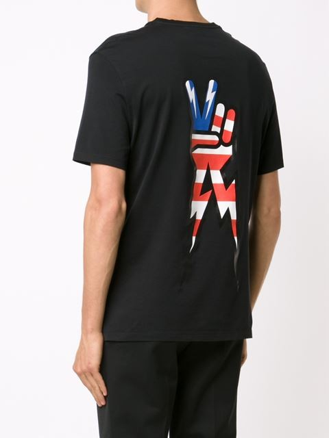 guys with iphones neil barrett peace sign print t shirt in black for lyst 10753