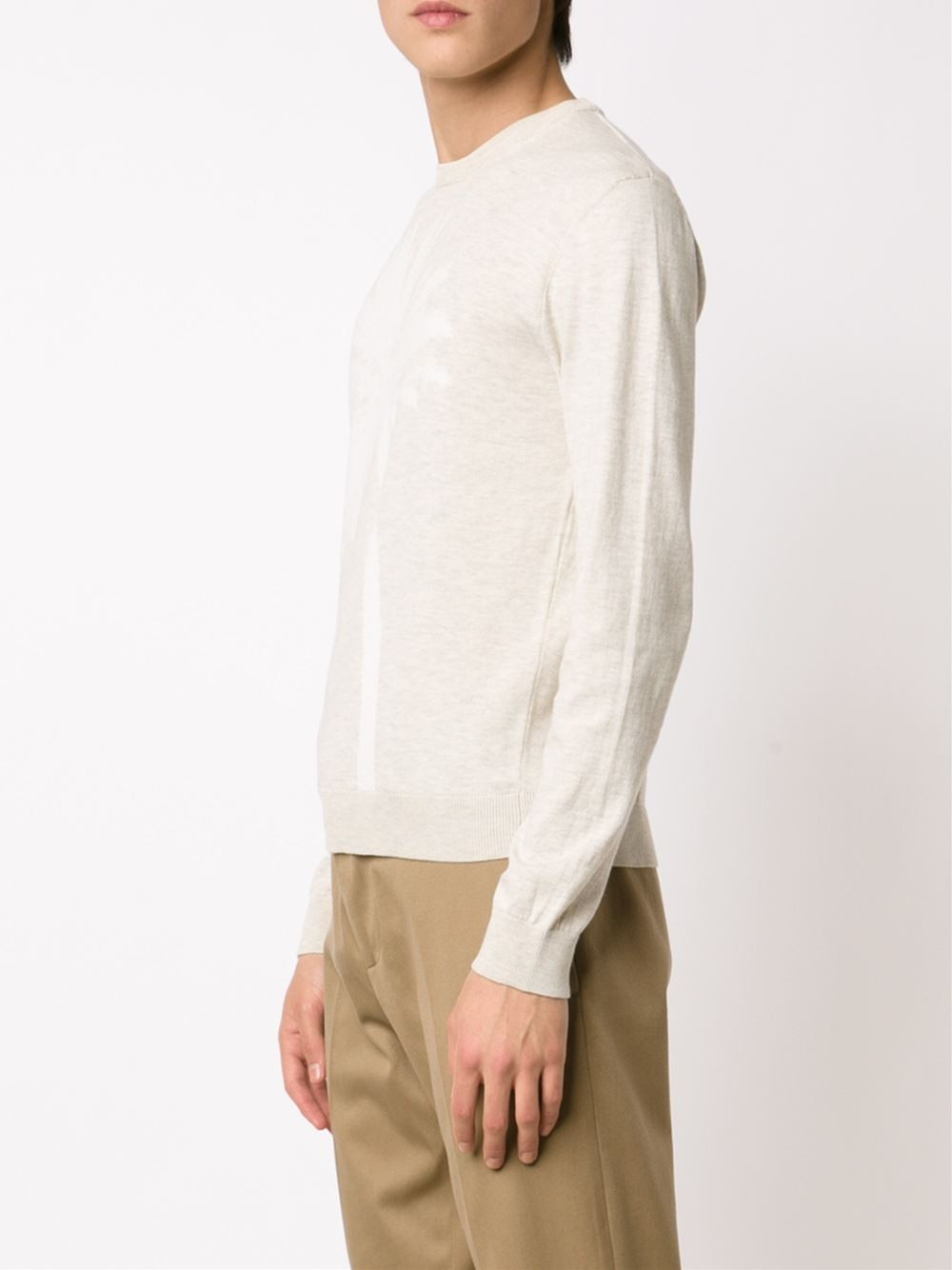 calvin klein tonal palm tree sweater in white for men lyst. Black Bedroom Furniture Sets. Home Design Ideas