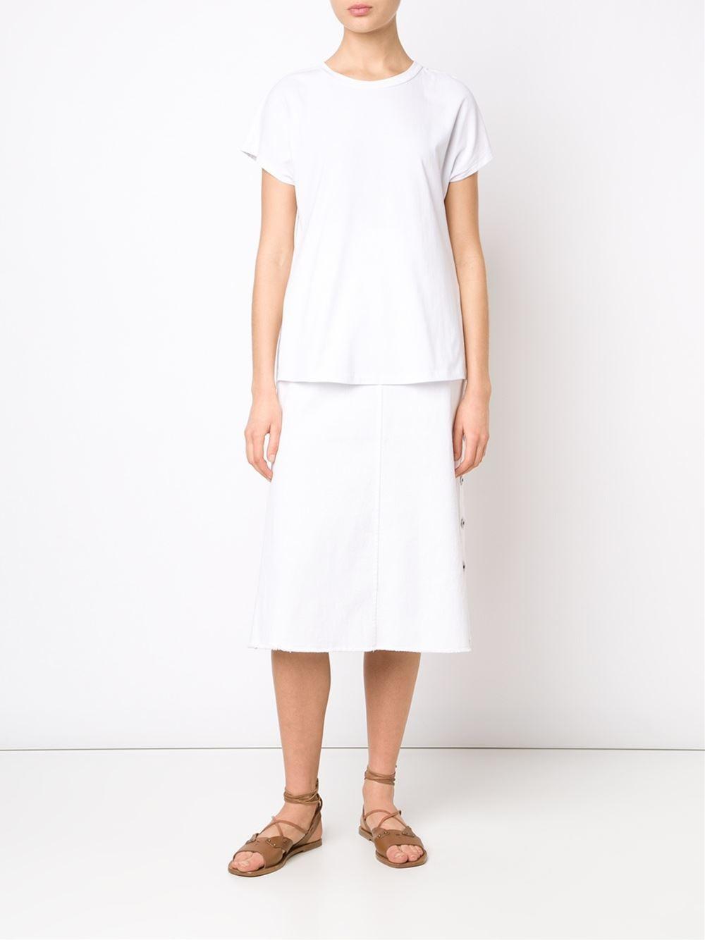 thakoon buttoned denim skirt in white lyst