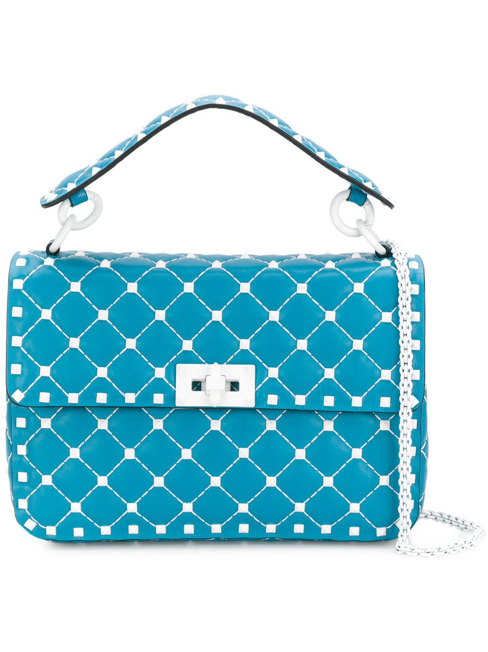 b87e11f5284e Lyst - Valentino Garavani Rockstud Spike Crossbody Bag in Blue