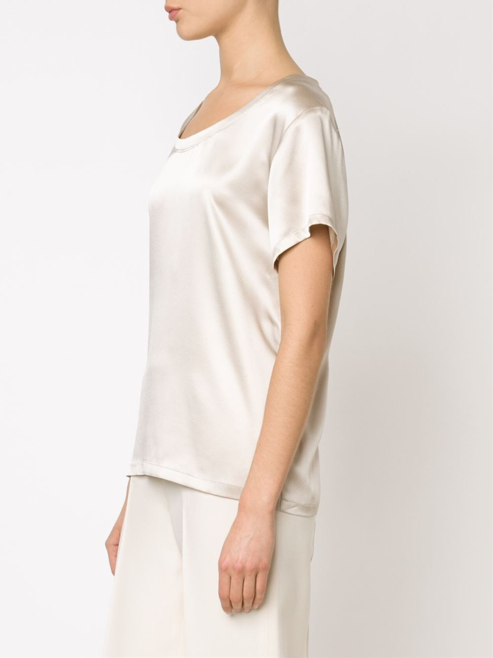 Adam lippes classic t shirt blouse in white lyst for Adam lippes t shirt