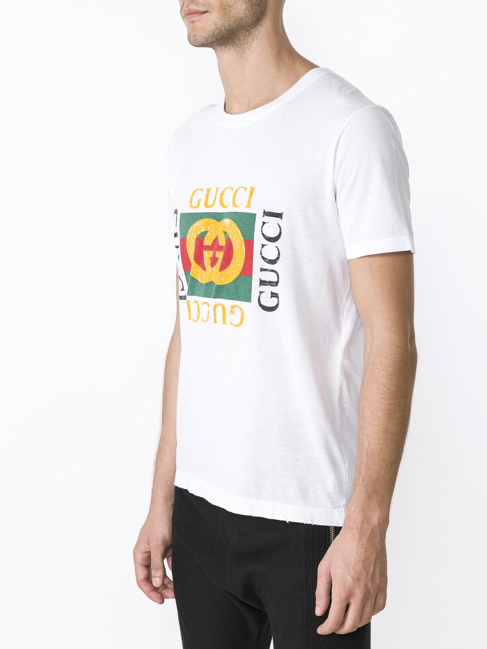7a49365635e55d Lyst - Gucci Washed T-shirt With Print in White for Men