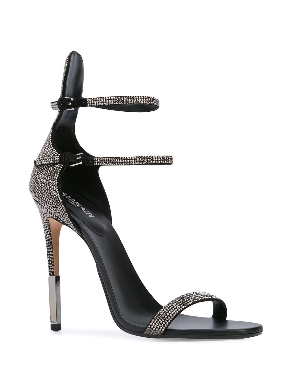 fa32ca562a4d Balmain Crystal Embellished Sandals in Black - Save 33% - Lyst