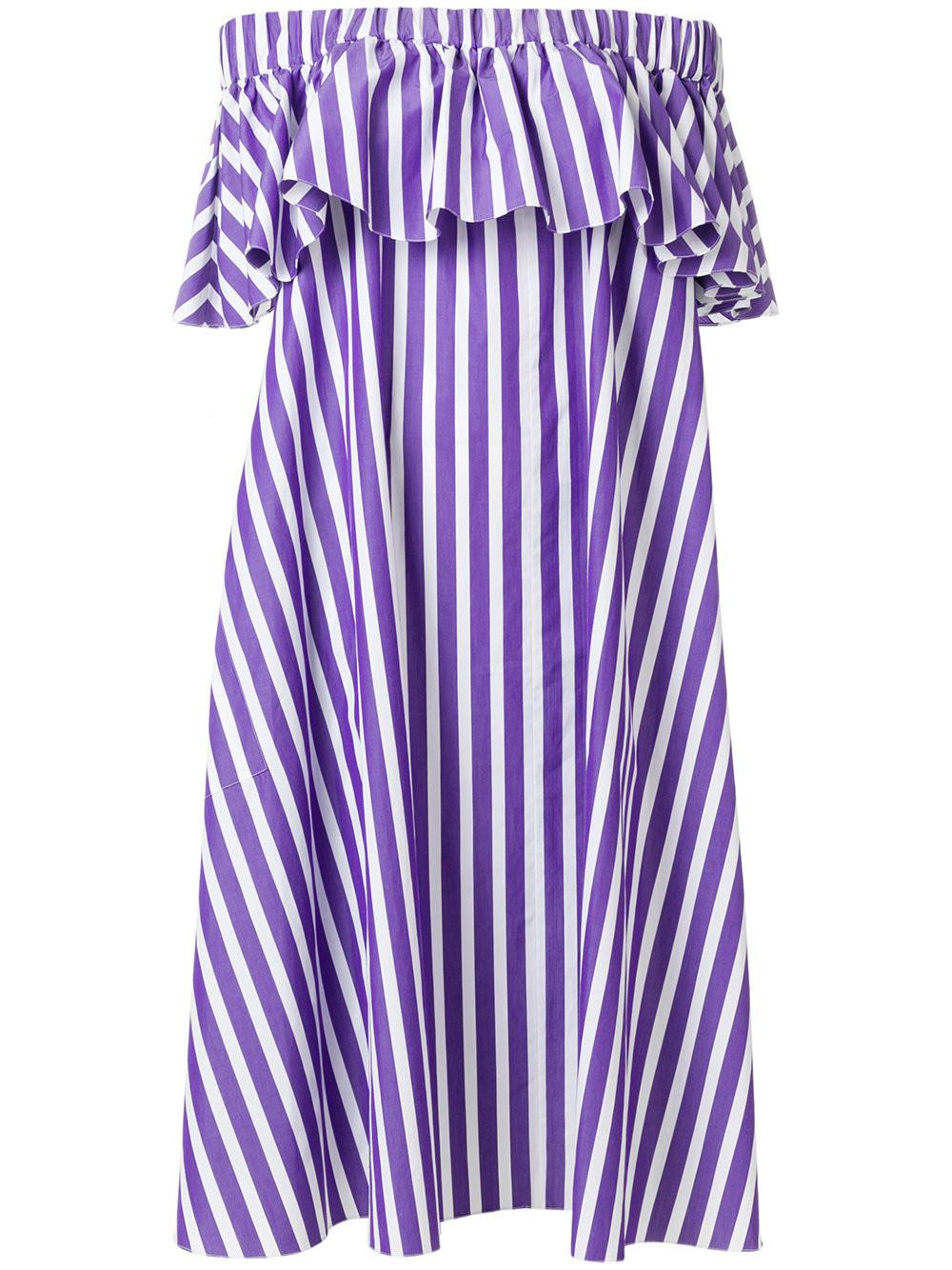 160471f81a7f0 Maison Rabih Kayrouz Purple Striped Off-shoulder Dress in Purple ...