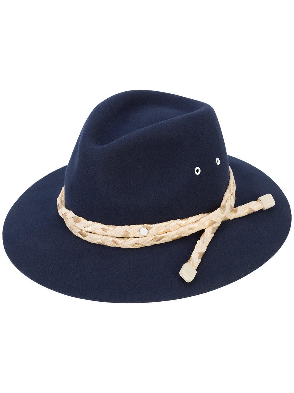 584ffde1fe3 Maison Michel Rico Fedora Hat in Blue for Men - Save ...