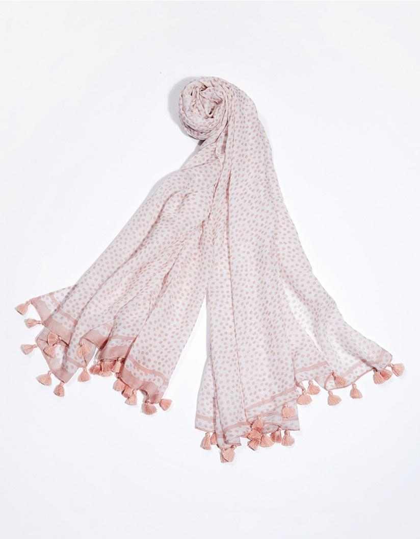 a50a6f0d51cff The White Company Spot Border Tassel Scarf With Silk in Pink - Lyst