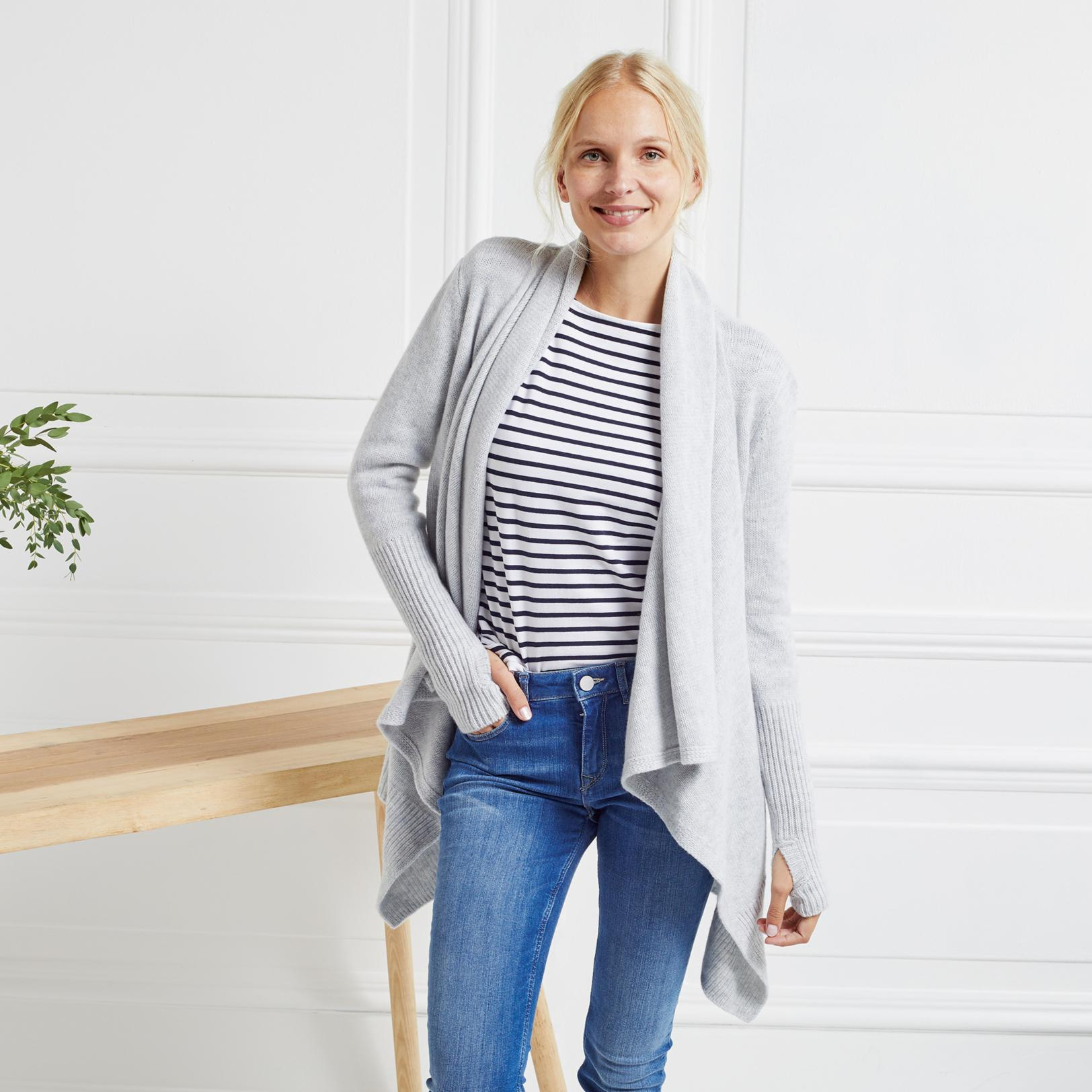 The white company Chunky Rib Waterfall Cardigan | Lyst