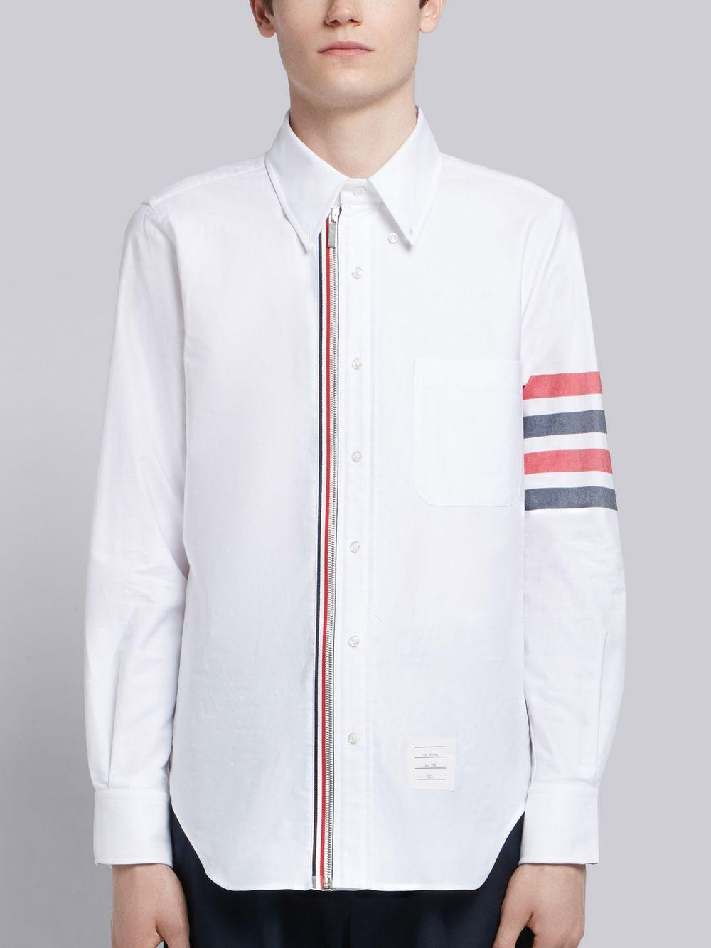c2fe01e1973 Thom Browne 4-bar Zip-front Oxford Shirt in White for Men - Lyst