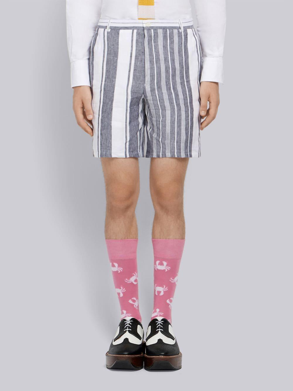 Thom Browne Striped Blanket Linen Short In White For Men
