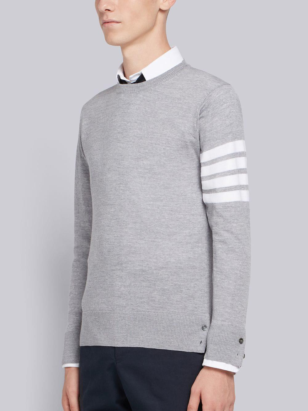 11b532744d Thom Browne 4-bar Merino Pullover in Gray for Men - Lyst