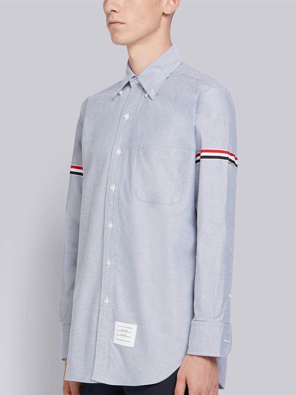 b432b5476a0 Lyst - Thom Browne Grosgrain Armband Oxford Shirt in Blue for Men