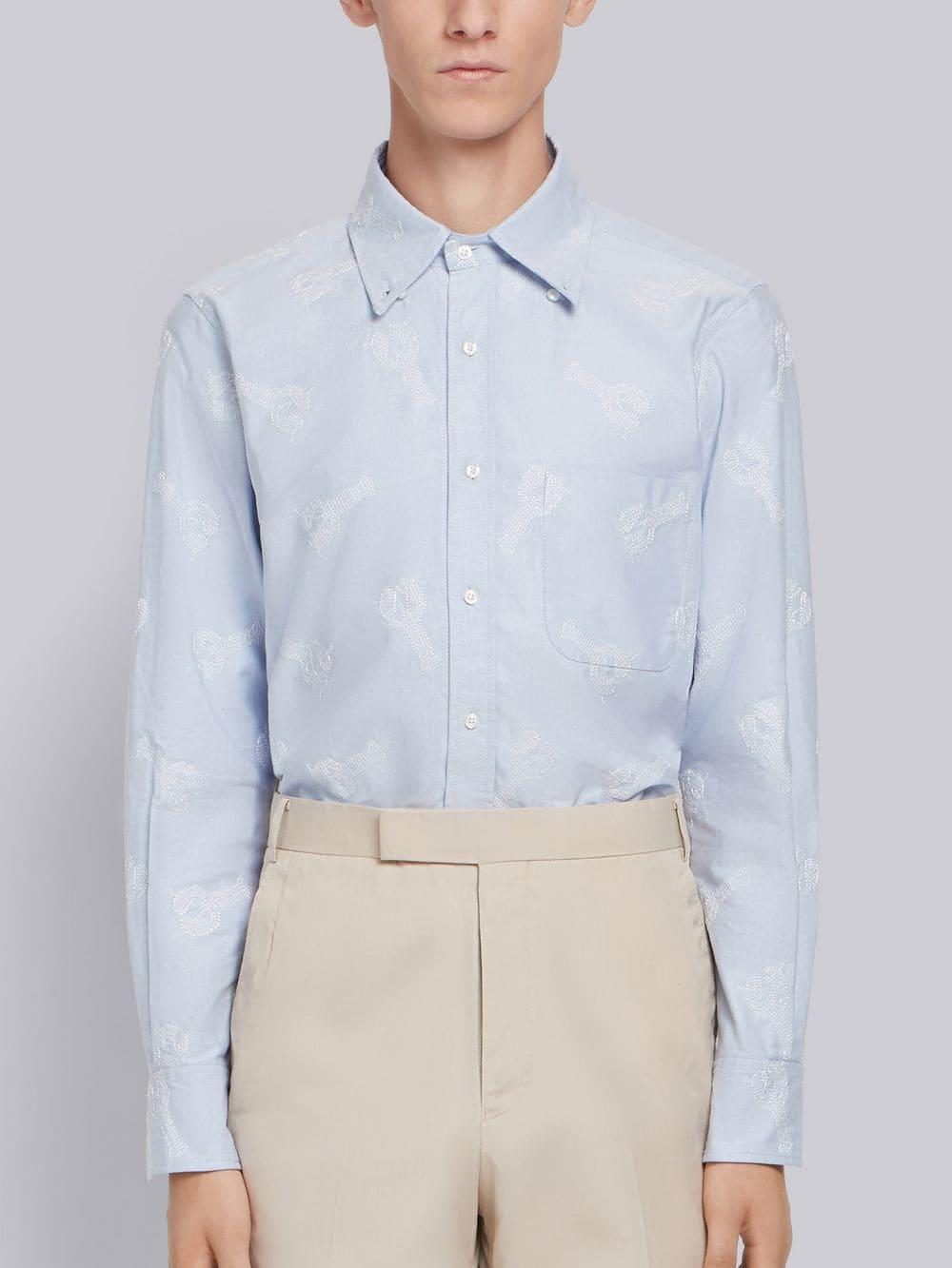 c1911b888aa Lyst - Thom Browne Embroidered Lobster Oxford Shirt in Blue for Men