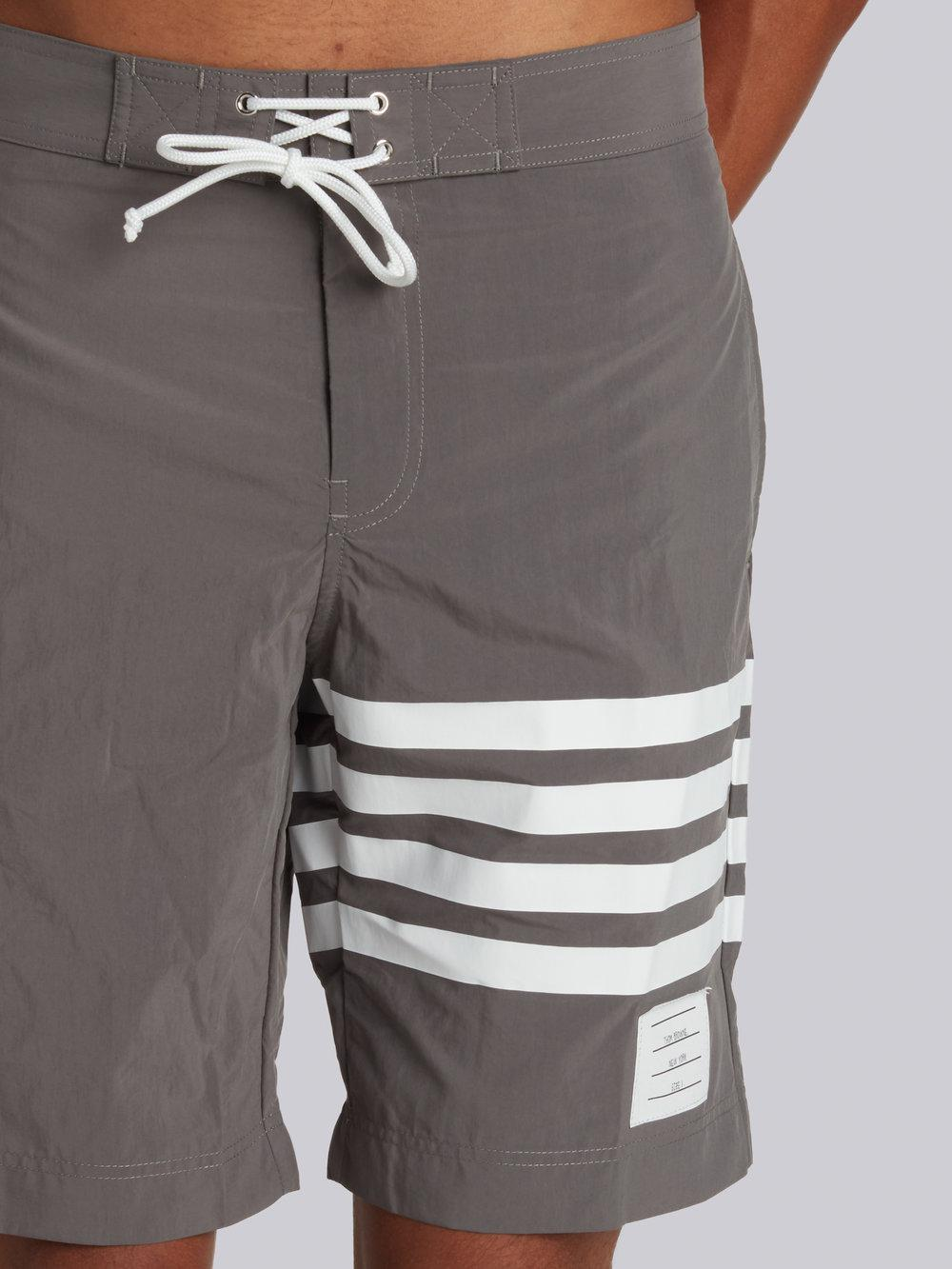 38992539cd Thom Browne Board Short With Printed 4-bar In Grey Brushed Finish Swim Tech  in Gray for Men - Lyst
