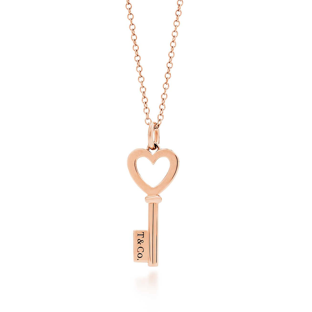 17add7d31 Tap to visit site. Tiffany & Co - Metallic Heart Key Pendant In 18k Rose  Gold ...